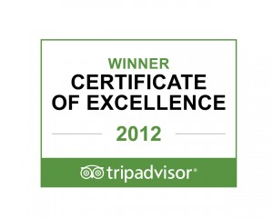 Tripadvisor Certificate of Excellence 2012